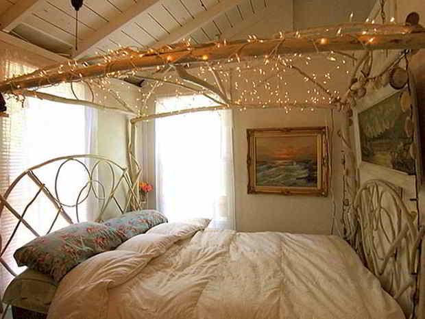 säng ljusslingor
